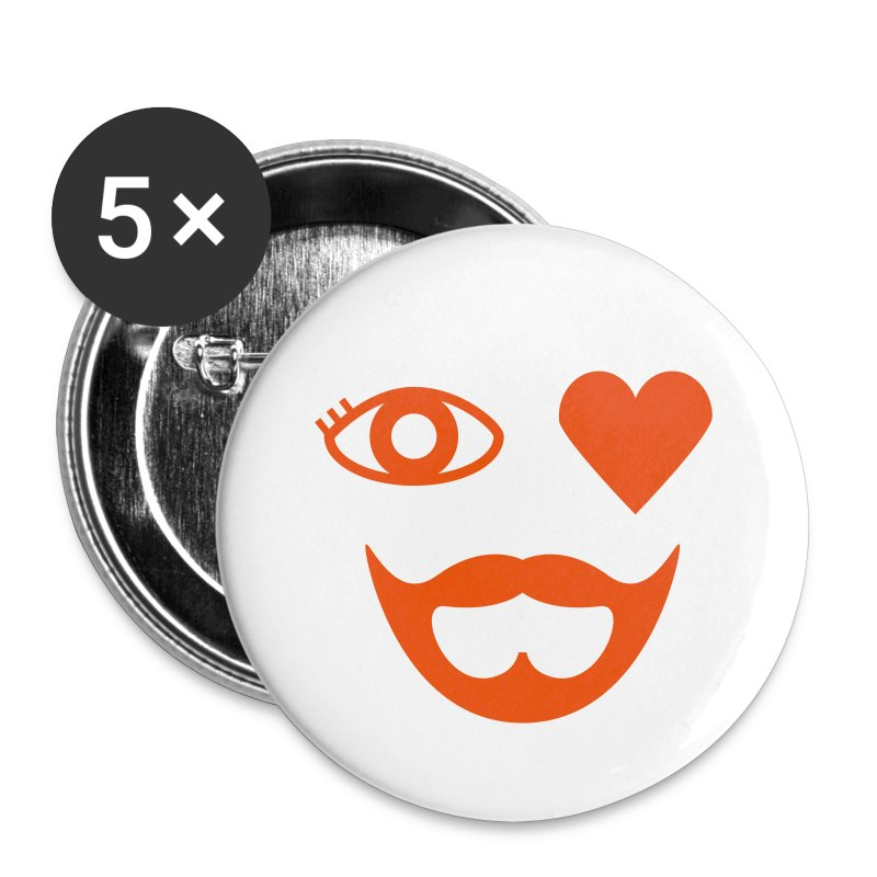 Orange Eye Heart Beard Button - Small Buttons