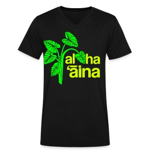 Aloha Aina - Neon - Men's V-Neck T-Shirt by Canvas