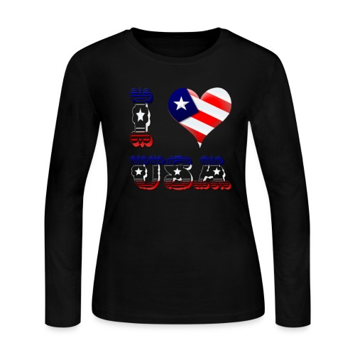 I Love USA - Women's Long Sleeve Jersey T-Shirt