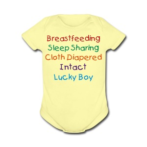 Lucky Boy Breast/Sleep/Cloth/Intact - Short Sleeve Baby Bodysuit