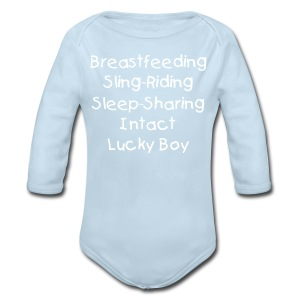 Lucky Boy [Change Text Available]  - Long Sleeve Baby Bodysuit