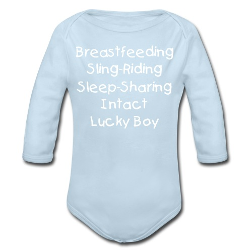 Lucky Boy [Change Text Available]  - Organic Long Sleeve Baby Bodysuit