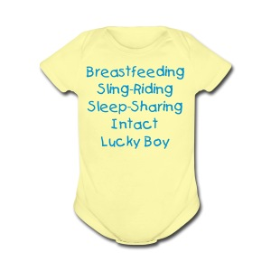 Lucky Boy [Change Text Available]  - Short Sleeve Baby Bodysuit