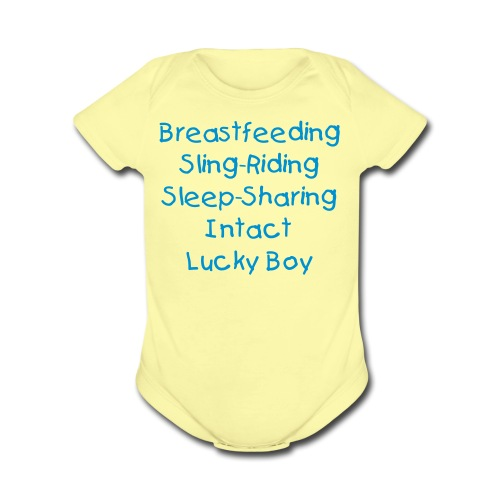 Lucky Boy [Change Text Available]  - Organic Short Sleeve Baby Bodysuit