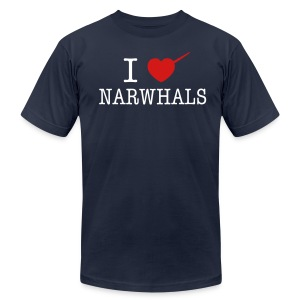 I Heart Narwhals - Men's T-Shirt by American Apparel