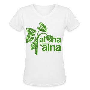 (Hawaiian) Aloha Aina - Green Glitz - Women's V-Neck T-Shirt