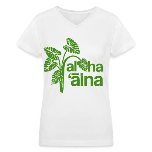 (Hawaiian) Aloha Aina - Green Glitz - Women's V-Neck T-Shirt