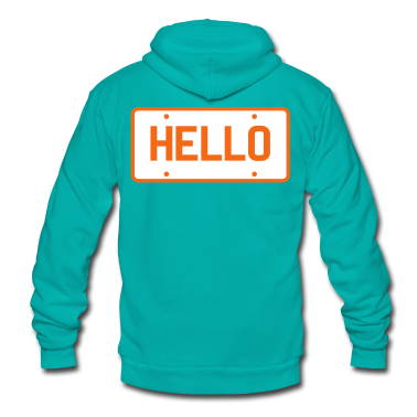 licence plate saying hello Zip Hoodies/Jackets