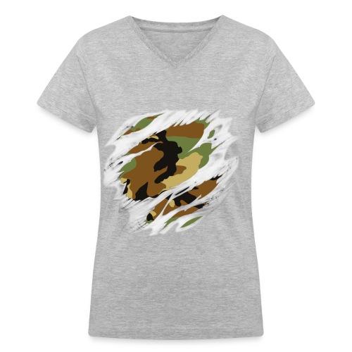 Camo V-Neck - Women's V-Neck T-Shirt