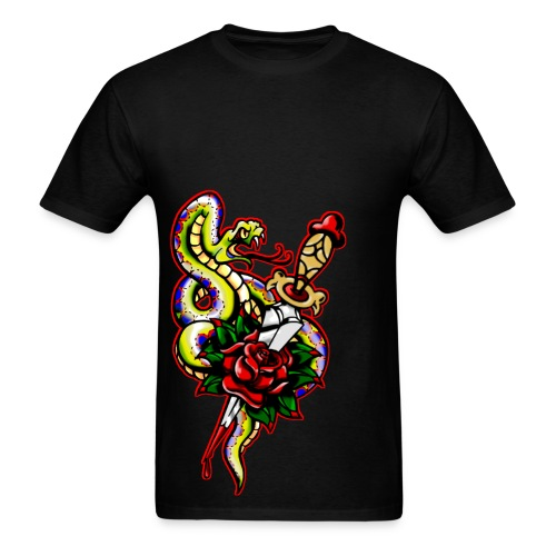 Men's Snake dagger Rose Tattoo - Men's T-Shirt