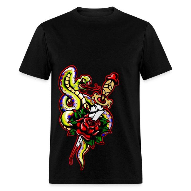 Men's Snake dagger Rose Tattoo