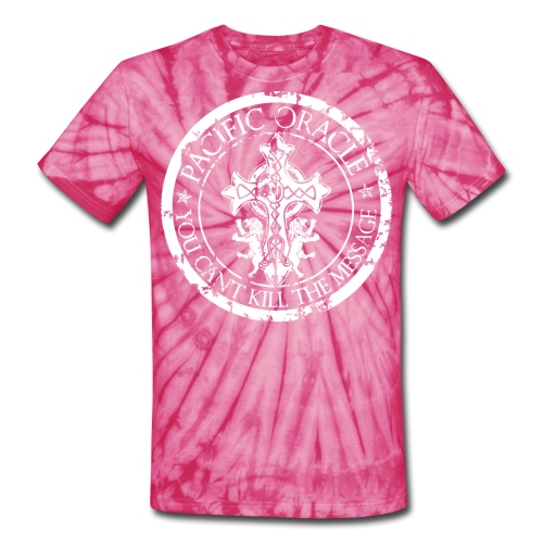 Pacific Oracle Logo Seal- Pink - Unisex Tie Dye T-Shirt