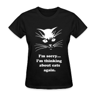 T-Shirts ~ Women's T-Shirt ~ Debbie: Thinking about Cats