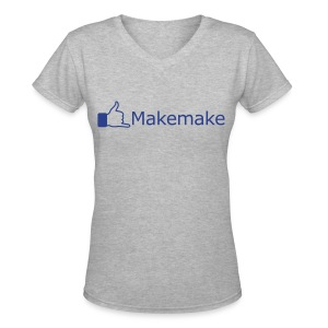 (Hawaiian) Facebook Like - Blue Glitz - Women's V-Neck T-Shirt