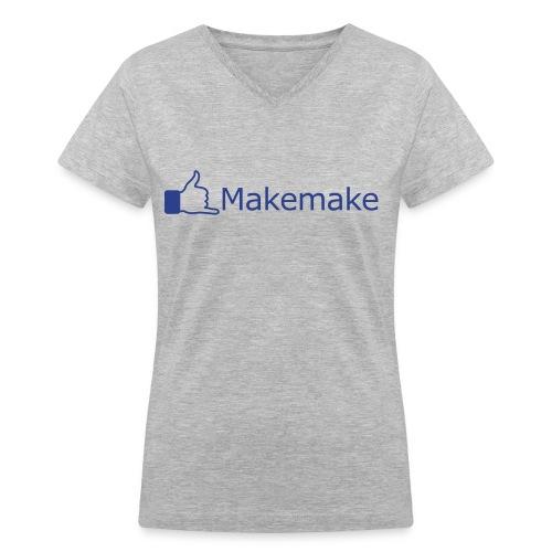 (Hawaiian) Facebook Like - Blue Glitz - Women's V-Neck T-Shirt