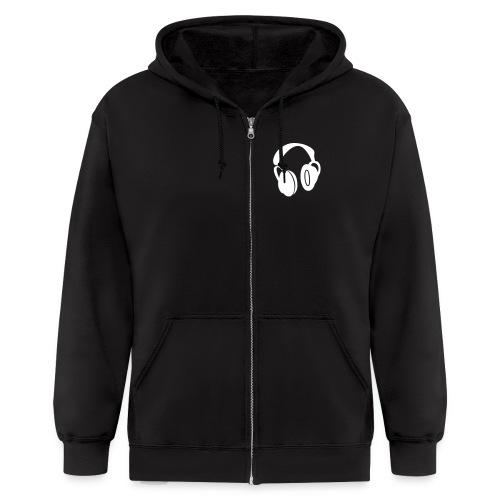 HeadphonesZip (Black and White) - Men's Zip Hoodie