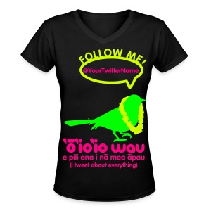 (Hawaiian) Twitter Neon - Women's V-Neck T-Shirt