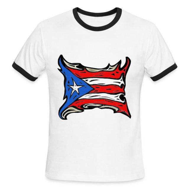2fbb3cd39b7 gabrielangeldesign | Puerto Rico Reggaeton Flag - Mens Ringer T-Shirt