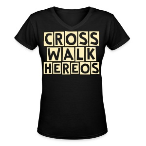Girls v-neck cross walk heroes - Women's V-Neck T-Shirt