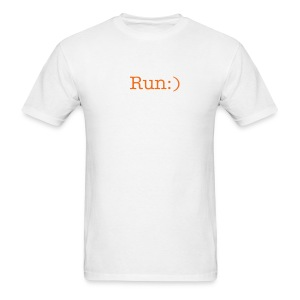 Run Smiley Men's Standard White Tee - Men's T-Shirt