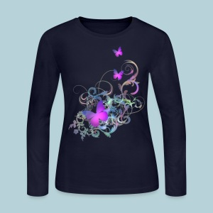 Bright Purple Butterflies - Women's Long Sleeve Jersey T-Shirt