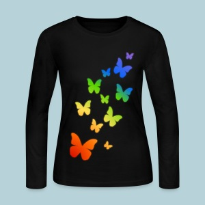 Rainbow Butterflies - Women's Long Sleeve Jersey T-Shirt