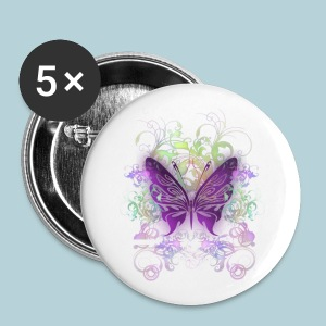 Small Buttons - A purple butterfly with swirls and floral graphics