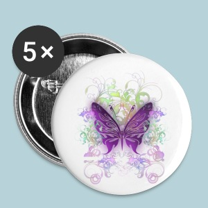 Large Buttons - A purple butterfly with swirls and floral graphics