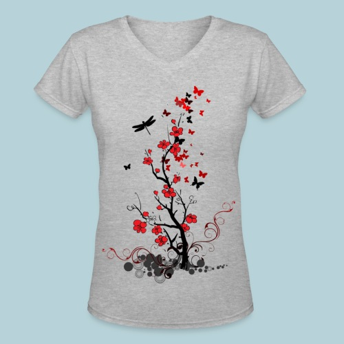 Red and Black Fl0wers Women's T-Shirts - Women's V-Neck T-Shirt