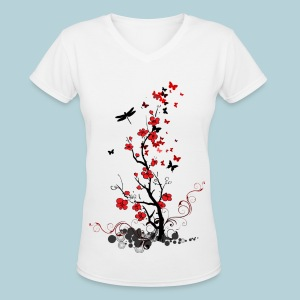 Red and Black Flowers - Women's V-Neck T-Shirt