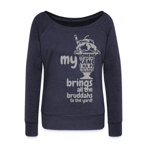 (Hawaiian) My Milkshake Brings All The Bruddahs To The Yard - Silver Glitz - Women's Wideneck Sweatshirt