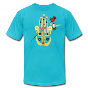 Hamsa and Flowers - Men's T-Shirt by American Apparel