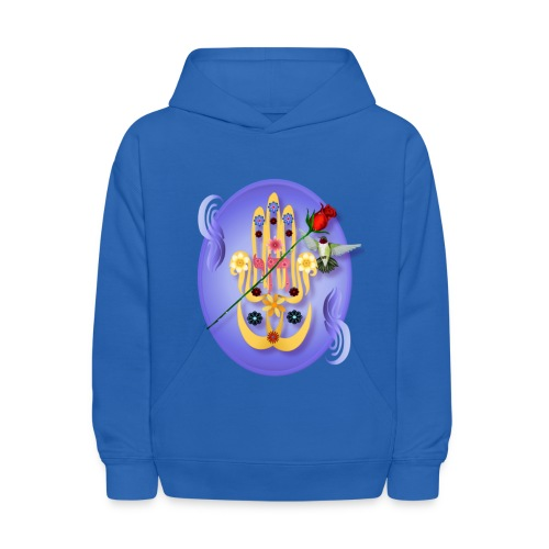 Hamsa and Flowers Oval - Kids' Hoodie