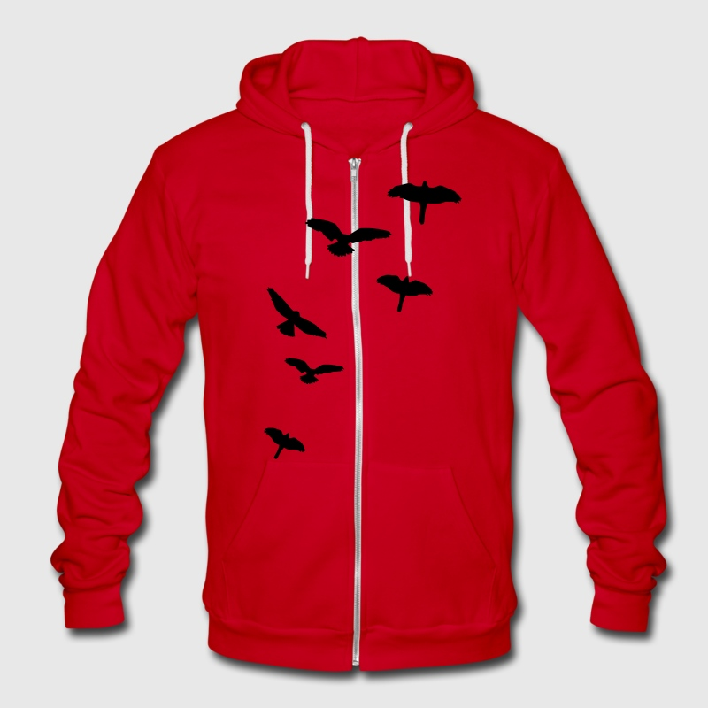 Flying Birds, the free-flying birds Zip Hoodies/Jackets - Unisex Fleece Zip Hoodie by American Apparel