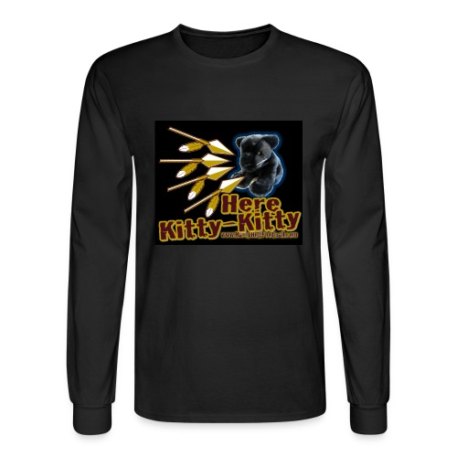 Here Kitty Kitty Longsleeves Black Tee - Men's Long Sleeve T-Shirt