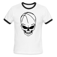 T-Shirts ~ Men's Ringer T-Shirt by American Apparel ~ Skull Basketball