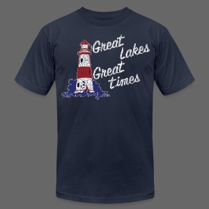 Vintage Great Lakes Great Time Lighthouse Style Men's T-Shirt by American Apparel - Men's T-Shirt by American Apparel