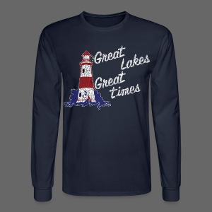 Vintage Great Lakes Great Time Lighthouse Style Men's Long Sleeve T-Shirt - Men's Long Sleeve T-Shirt