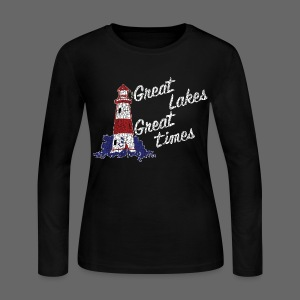 Vintage Great Lakes Great Time Lighthouse Style Women's Long Sleeve T-Shirt - Women's Long Sleeve Jersey T-Shirt