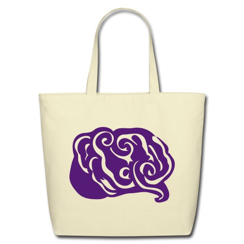 Abstract Art Purple Epilepsy Brain Creme Eco-Friendly Cotton Tote - Eco-Friendly Cotton Tote