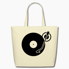 headphones record disc platter disk dj record play techno minimal Bags