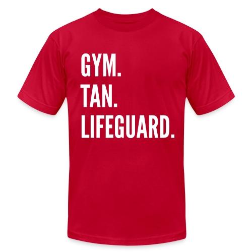 Gym. Tan. Lifeguard. - Men's Fine Jersey T-Shirt