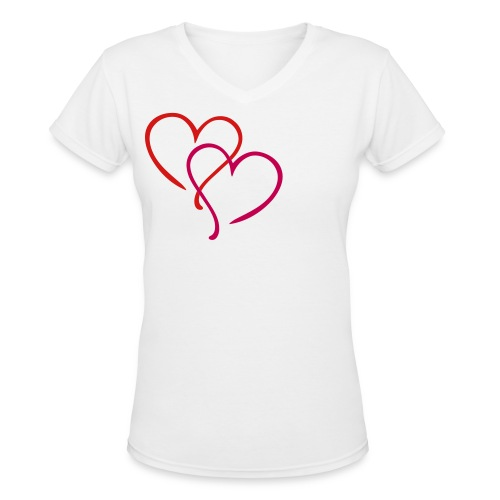 Heart Hearts Love - Women's V-Neck T-Shirt