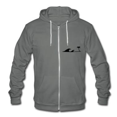 Waves on the Beach, waves on the beach under palm trees  Zip Hoodies/Jackets