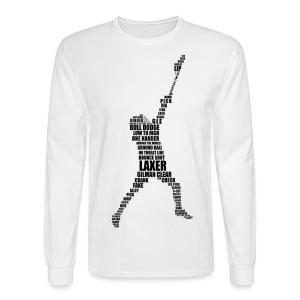 Lacrosse Player Calligram Men's Long Sleeve Shirt - Men's Long Sleeve T-Shirt