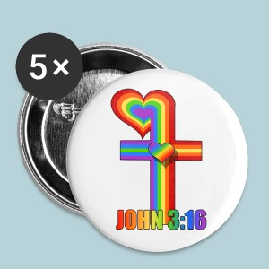 John 3:16/ Rainbow Cross - Small Buttons