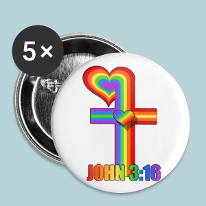 John 3:16/ Rainbow Cross - Large Buttons