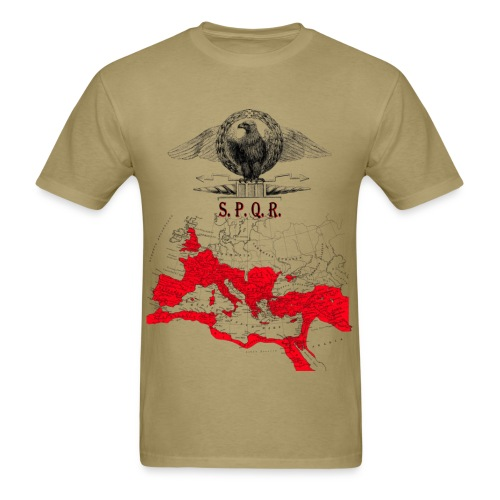SPQR Shirt With An Eagle Banner & Detailed Map of The Roman Empire - Men's T-Shirt