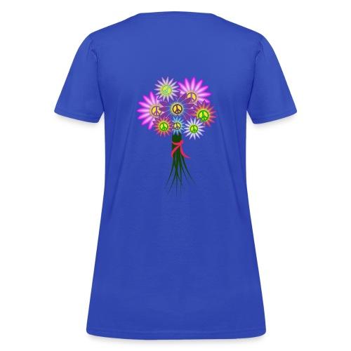 Hippie Girl Bouquet - Back Design - Women's T-Shirt