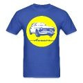 Yellow on blue Volvo Amazon tee